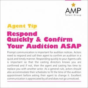 AMP Talent Group Audition Do's and Dont's Agent Tip